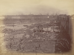 View from S.E. corner looking north [Victoria Dock construction, Bombay].